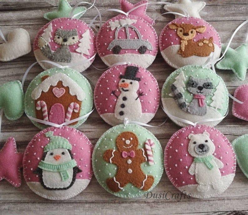 Felt Pink Mint Christmas ornaments Set, Pink ornaments, Gingerbread House, Polar bear, Penguin, Snowman - set of 6