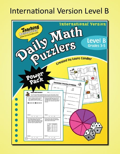 Daily Math Puzzlers Level A International Version- Complete daily ...