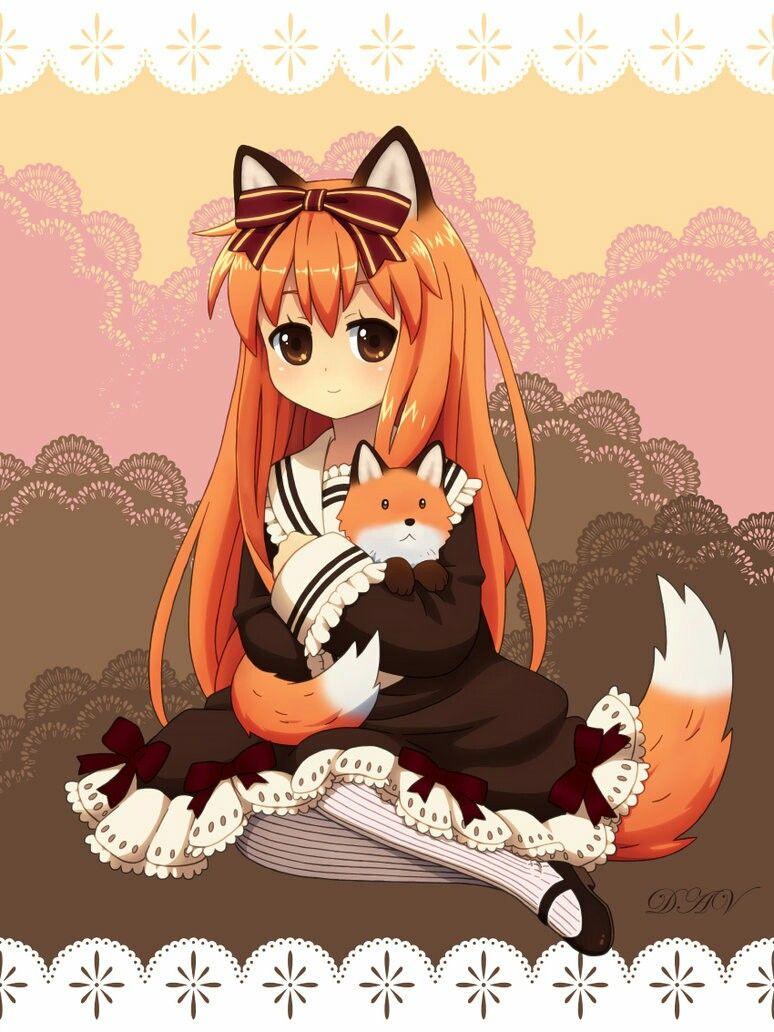 Orange Hair Kitsune Fox Girl Dav 19 Art Chibi Anime Kawaii