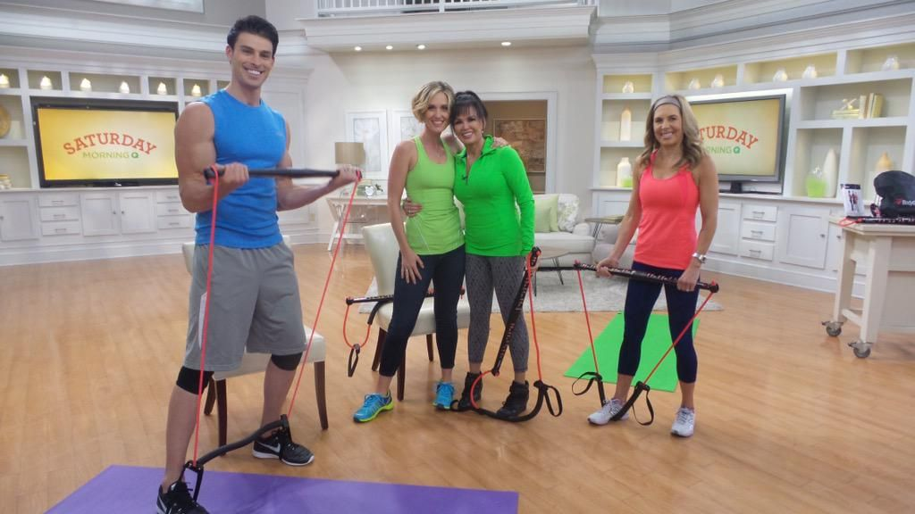 Adam Gregory, Kerstin Lindquist, Marie Osmond & Mindy Buxton at QVC with the Body Gym
