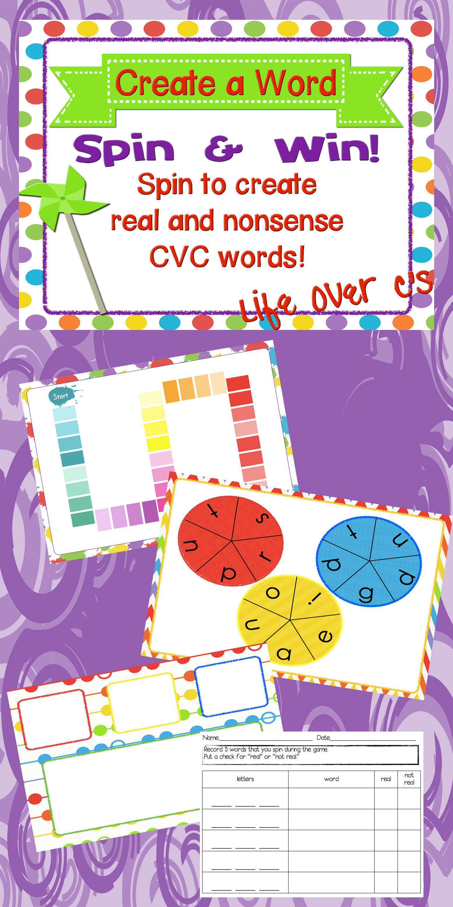Cvc Real And Nonsense Words Spin Amp Win With Assessment