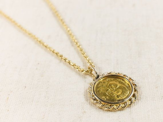 14k Yellow Gold 1995 1 10 Oz Panda Fine Gold Coin In Bezel Pendant With 1 5mm Wide Rope Chain Necklace 18 Quot Long 7 9 Gra Bezel Pendant Pendant Gold Coins