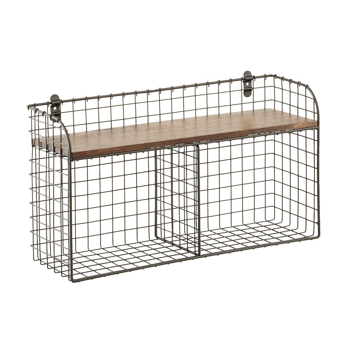 Wall Mounted Wire Double Bin The Container Store Shelves Wire Bins Wire Basket Shelves