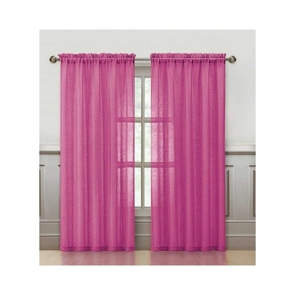 Vcny Sparkle 84 Inch Rod Pocket Curtain Panel Hot Pink