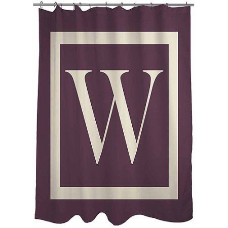 Thumbprintz Classic Block Monogram Eggplant Shower Curtain, Purple