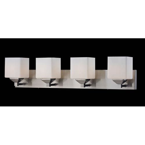 Photo of Z-Lite 2104-4V Quube bathroom lamp with four lights made of brushed nickel / matt opal nickel – brushed, temporary | Bellacor