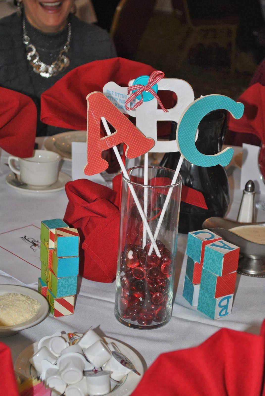 Dr. Seuss ABC Book baby shower centerpiece | Dr. Seuss Baby shower ...