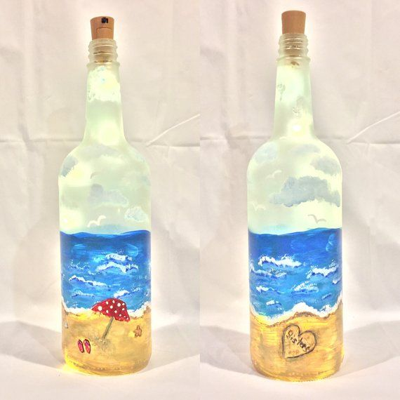 Made In Usa Hand Painted Lighted Bottle In Pink Sugar Skullo Green Bottle Lamps, Lighting & Ceiling Fans