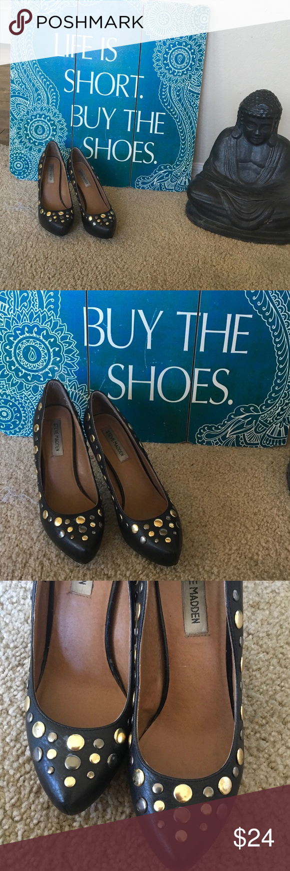"Steve MADDEN ""VICIOUS"" BLACK Leather w/ studs 6.5M STeve MADDEN fun black leather gold & Gun metal tone varying studs surround foot. 4 1/4"" leather heel. Some studs have scratches, overall  look is great. 💛🔘💛🔘💛🔘 Steve Madden Shoes Heels"