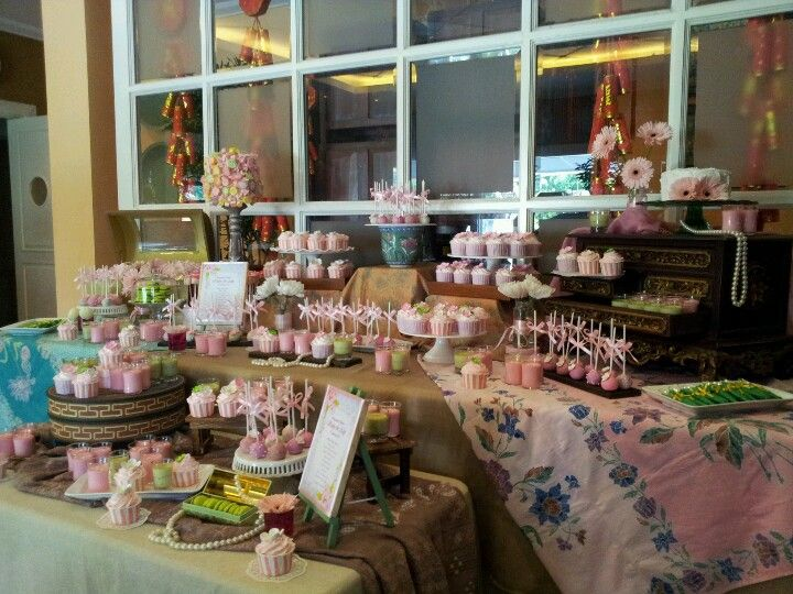 Elegant And Chic Batik Dessert Table For Ruby And Ady S Engagement Party Engagement Party Sweet Table Dessert Table