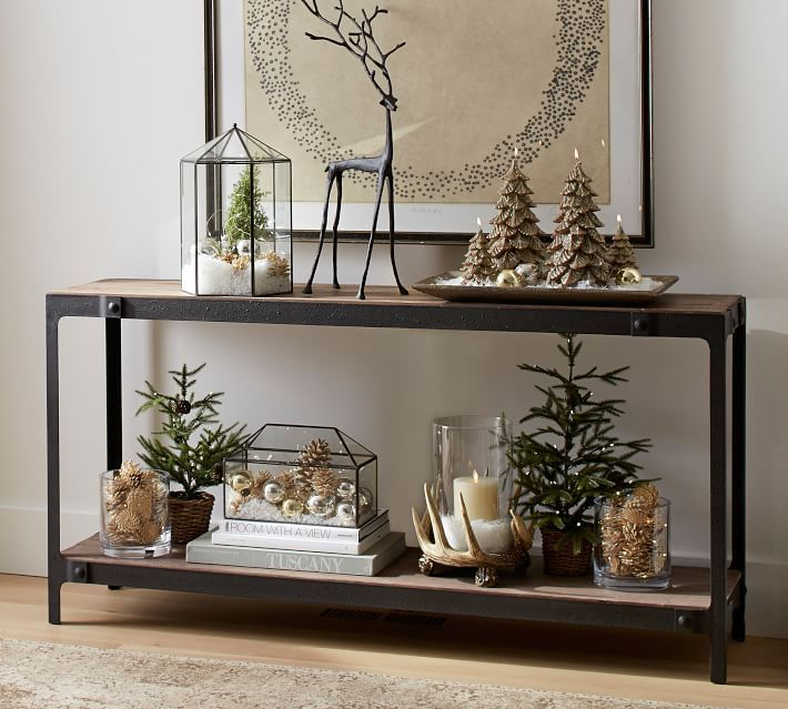Clint Reclaimed Wood Console Table Christmas Decorations