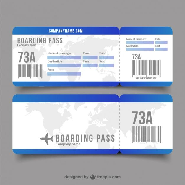 Flat Boarding Pass With Decorative World Map Boarding Pass Template Airport Tickets Boarding Pass