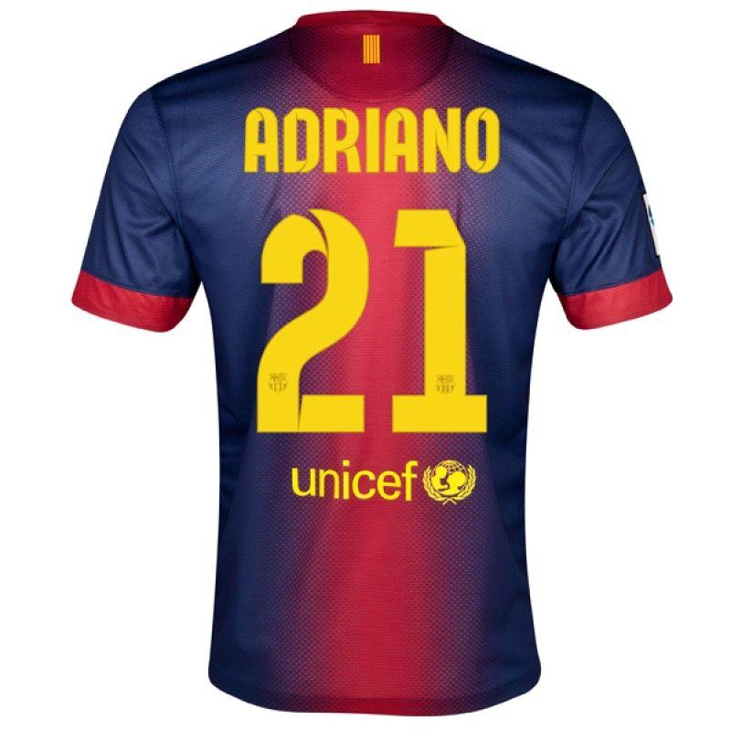 12/13 Barcelona #21 Adriano Home Soccer Jersey Shirt Replica