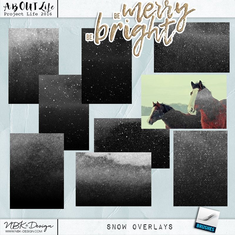 Be Merry Be Bright {Snow Overlays}picture effects for photoshop by NBK Design