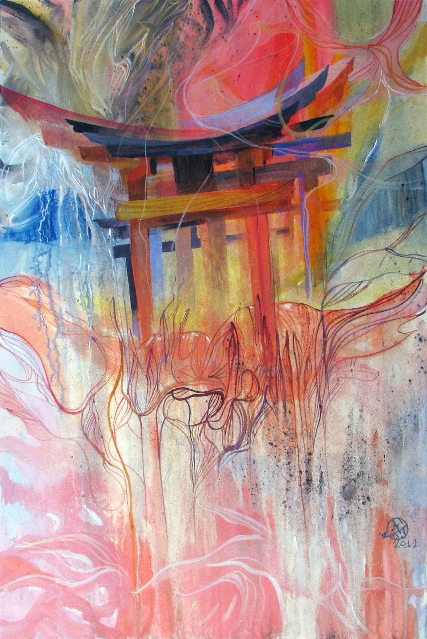 Chinese arch / 2012 / acrylic on paper / 62x42 cm by Sunko Sergei