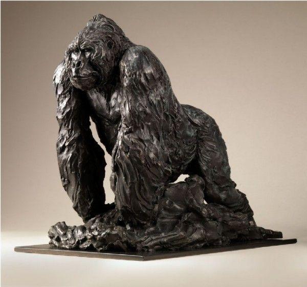 Standing Silverback _Bronze sculpture by JONATHAN KENWORTHY ...