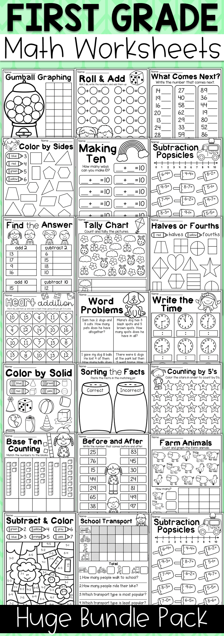 First Grade Math Worksheet Bundle Addition Shapes Place Value More First Grade Math Worksheets First Grade Math Worksheet [ 2044 x 720 Pixel ]