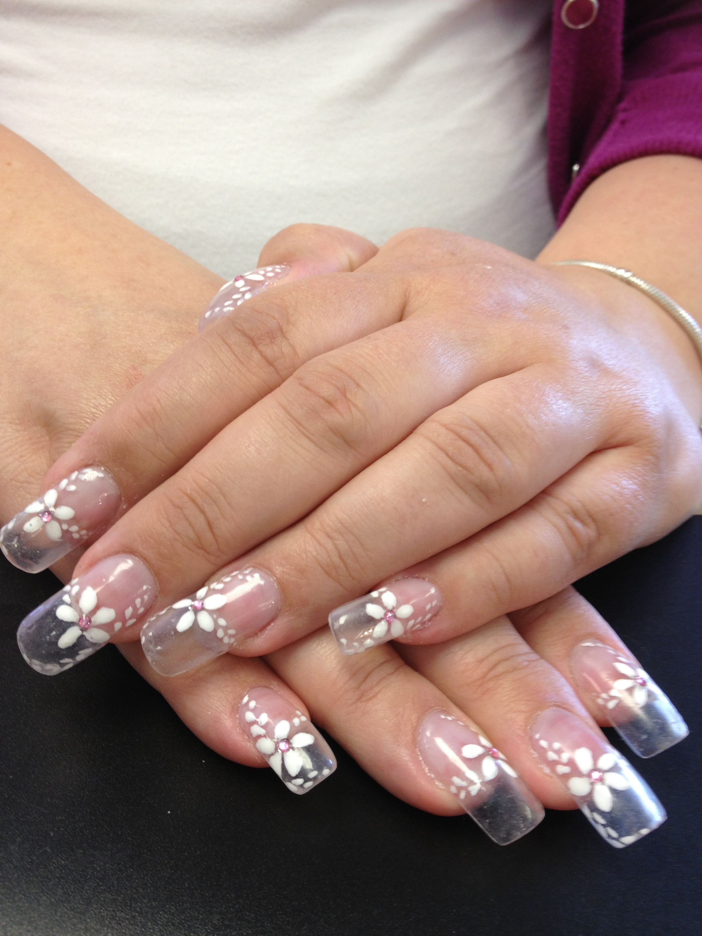 Solar nails clear tips with white flower designs #elegant #bridal ...