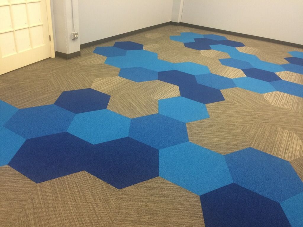 installed at a senior living center in chicago shaw contract group hexagon carpet tiles - Shaw Carpet Tile