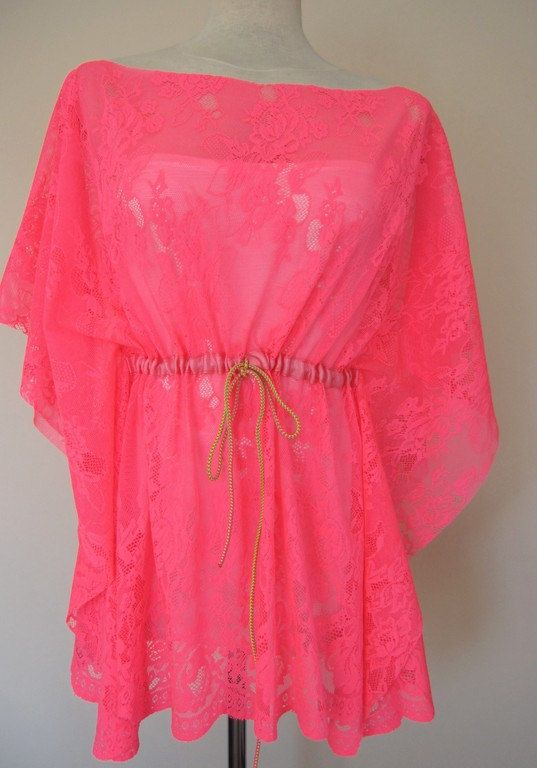 d3c9b9439c Neon pink fuchsia-kaftan-caftan-swimsuit cover up-coverup-sheer-lace-mini  beach dress summer tunic | 7 My Style/ High Fashion/ Plus Size | Fashion,  Summer ...