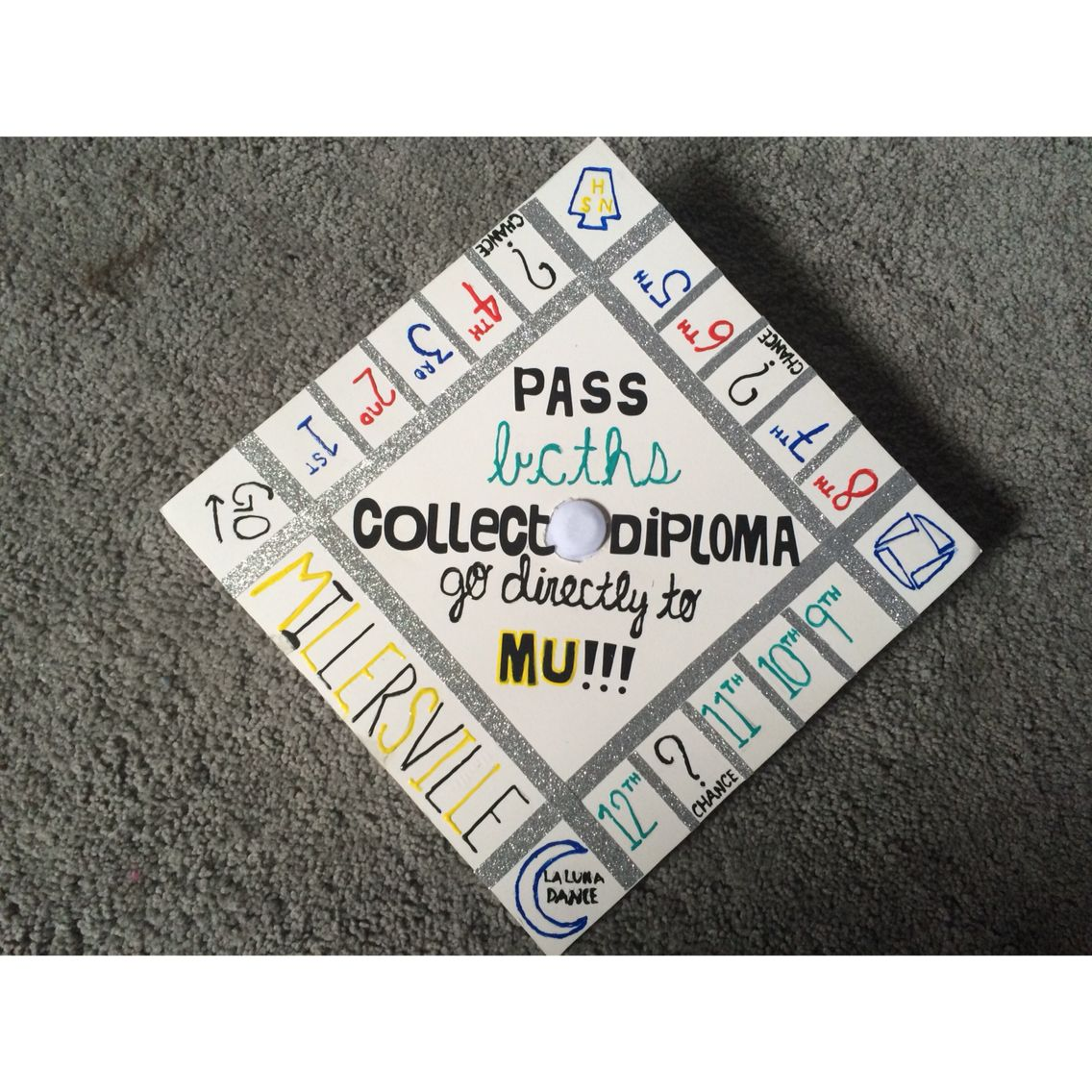 Monopoly themed graduation cap! The middle is suppos