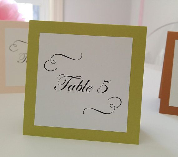 Wedding Table Numbers Tented with Romantic Calligraphy Swirly Design ...