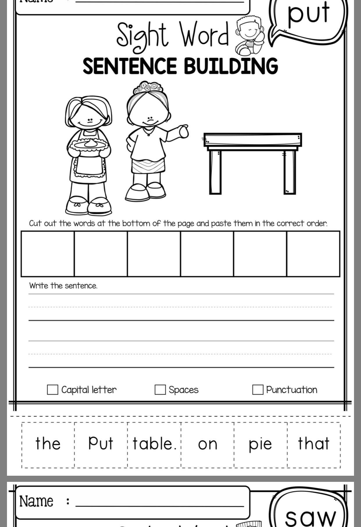 Sight Word Sentences Image By Lauren Griffith On Reading