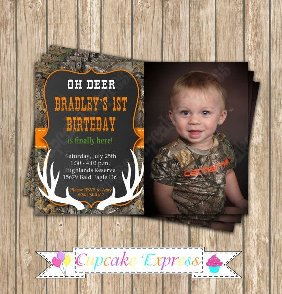 Camo Boy Hunting Deer Photo Invitation 6 By CupcakeExpress