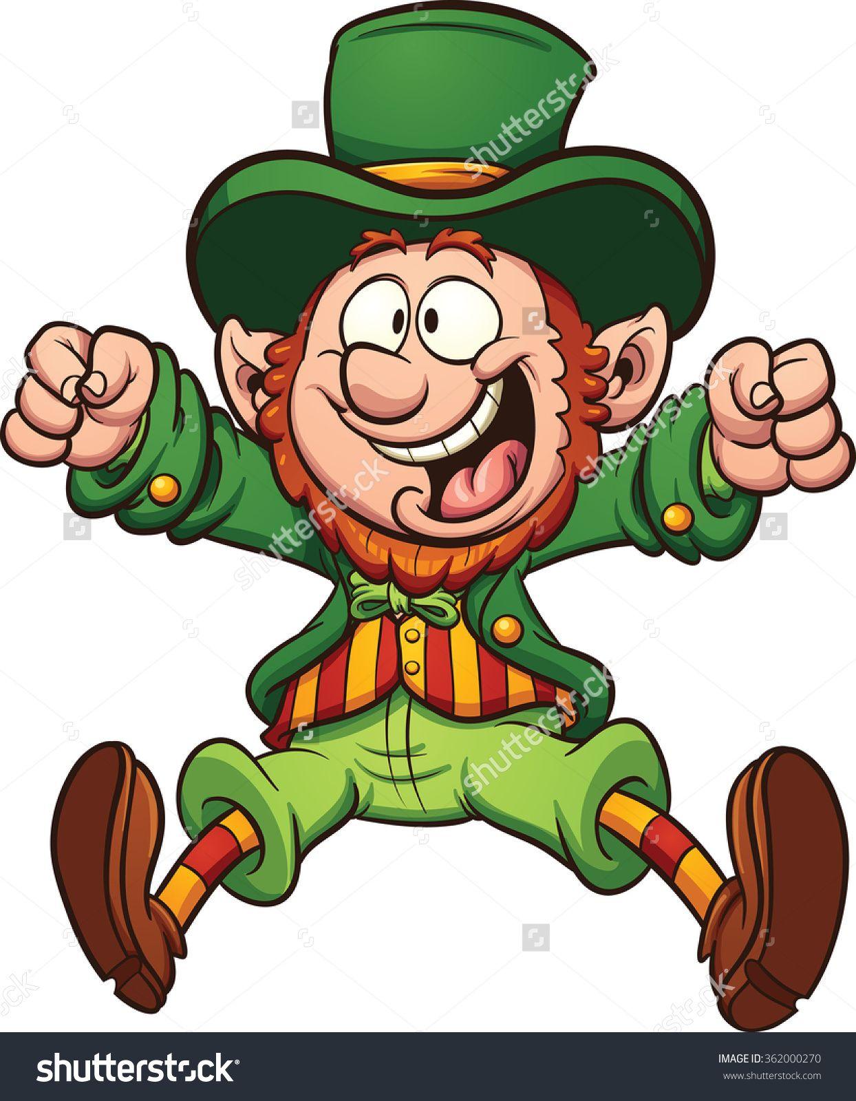 Happy Cartoon Leprechaun. Vector Clip Art Illustration With ...