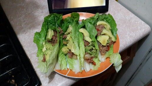 Tuna and olives Lettuce Tacos w/avocados