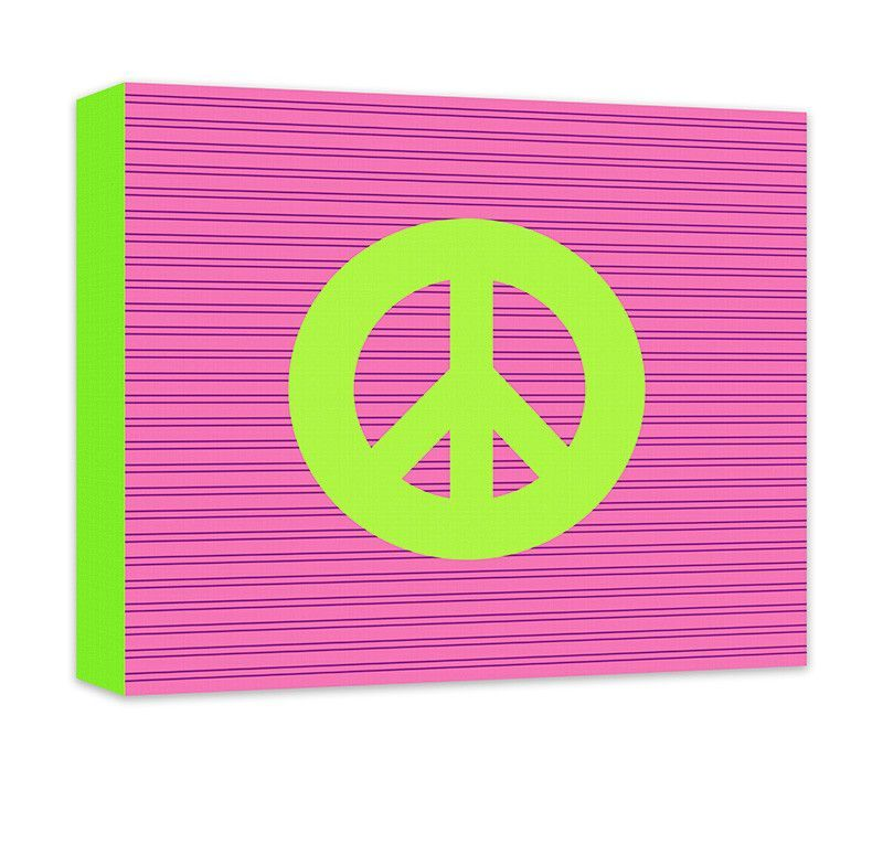 Peace Sign Bathroom Decor Cool Peace Sign Canvas Wall Art  Striped Background Peace And Canvas Inspiration