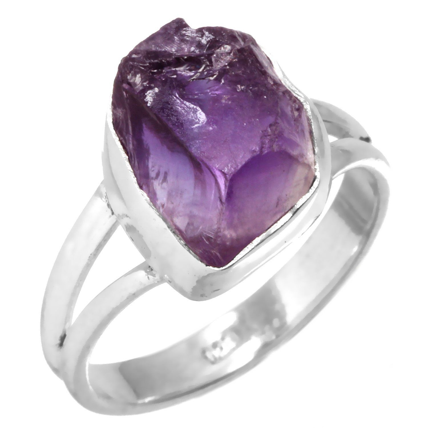 Natural Amethyst Rough Gemstone Ring Solid 925 Sterling