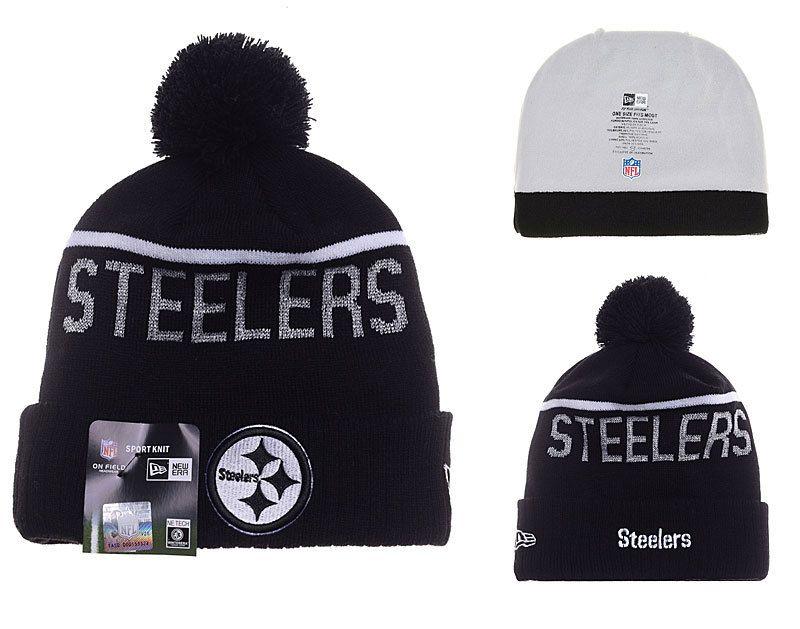 a3c83b4c5 Mens   Womens Pittsburgh Steelers New Era NFL Fashion Sports On-Field Knit  Beanie Hat With Pom Pom - Black   White