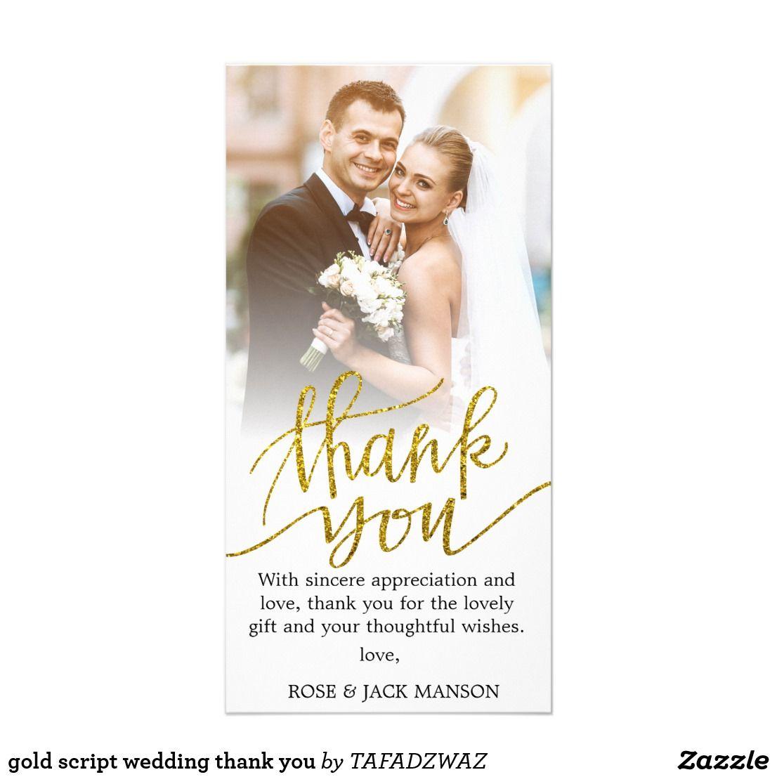 gold script wedding thank you  zazzle  wedding thank