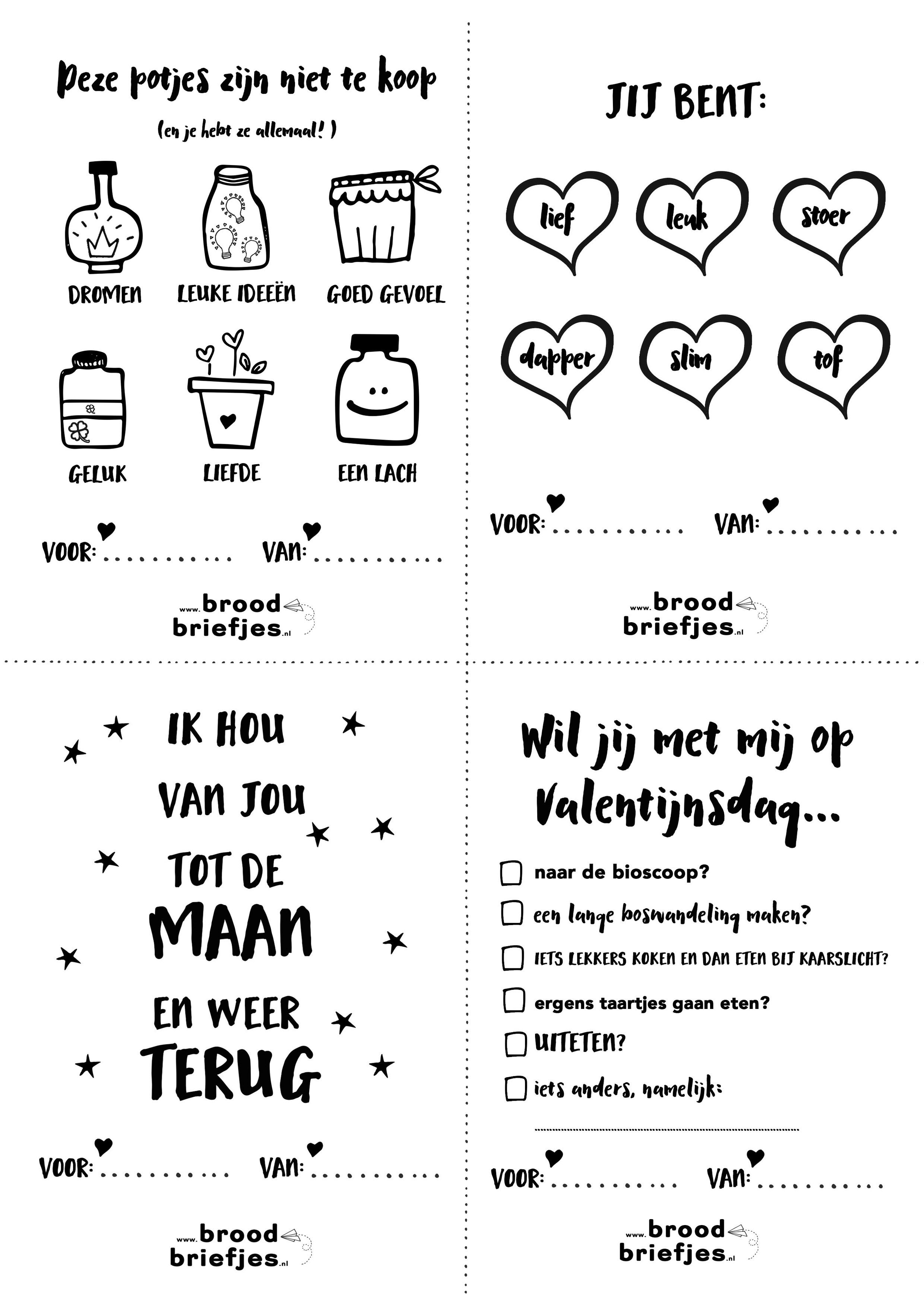 lieve broodbriefjes voor valentijnsdag of zomaar