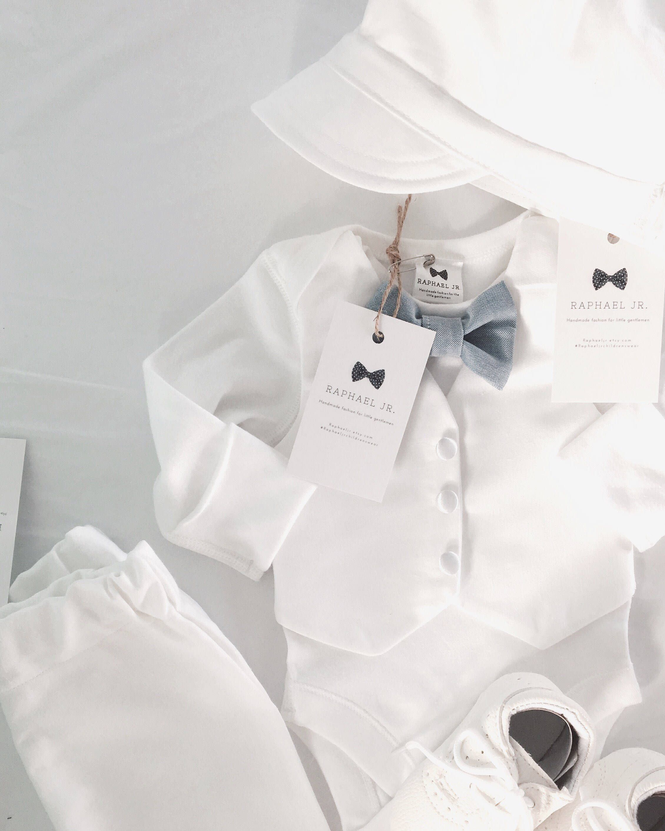 Baby boy Baptism White vest onesie outfit with matching white blue