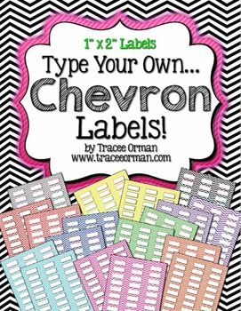 labels chevron editable 1x2 avery 5160 education pinterest