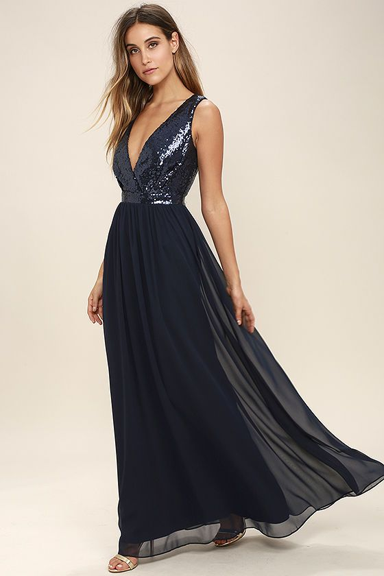 463cc9dfafb8 The Elegant Encounter Navy Blue Sequin Maxi Dress was made for fairy tale  endings! A sleeveless sequin bodice with no-slip strips