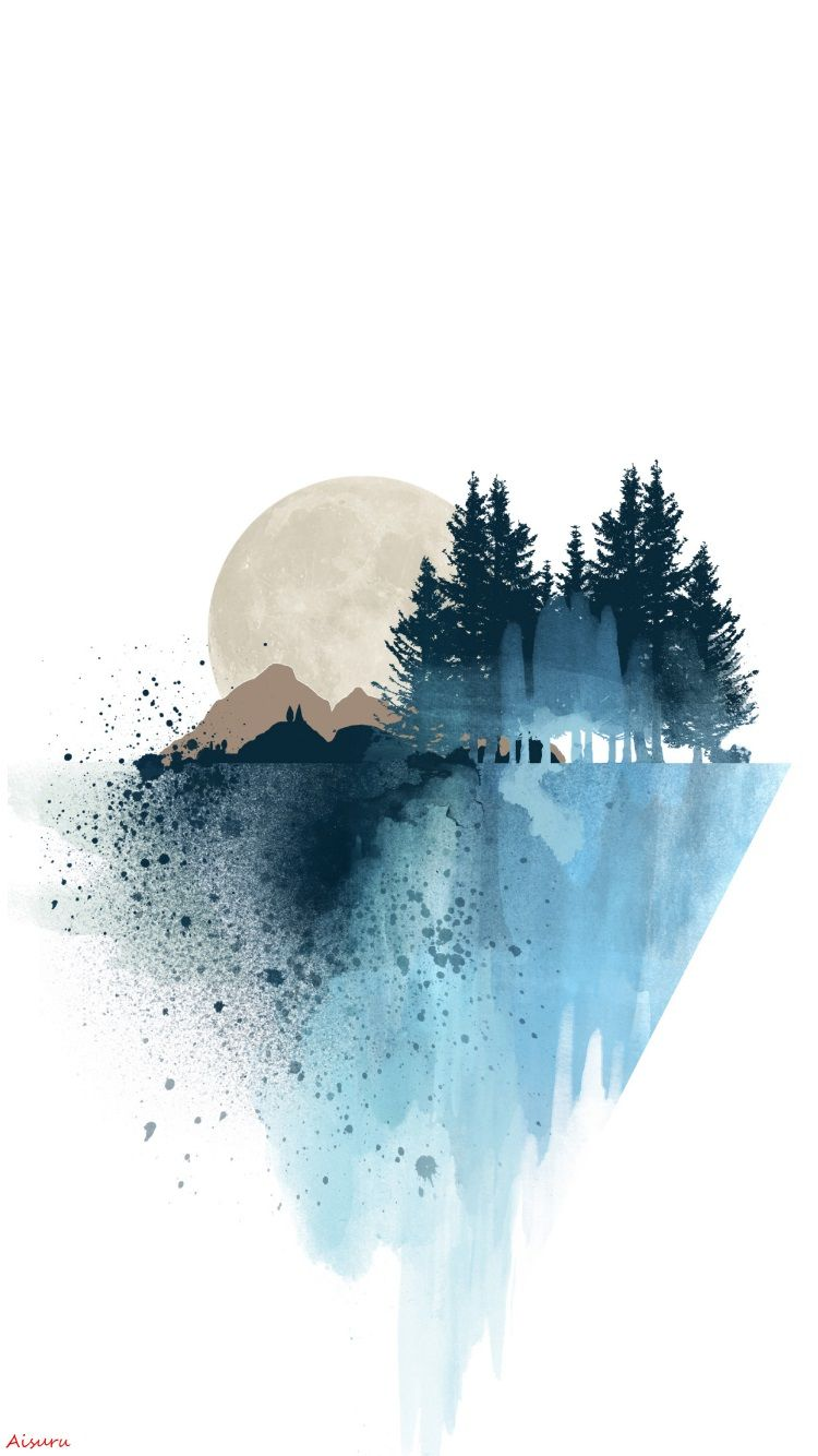 Natural Moon Abstraction Art Wallpaper IPhone my edition A ...