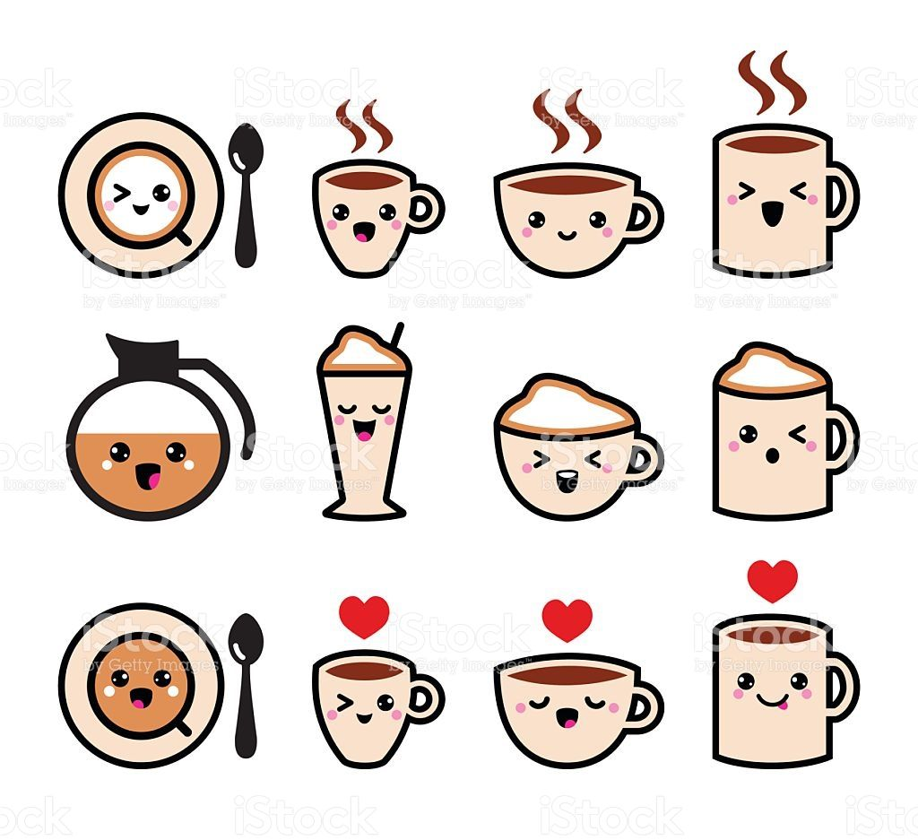 Lindo Café Capuchino Café Expresso Kawaii Conjunto De Iconos Vector Ilustración De Dibujos Kawaii Garabatos Lindos Garabatos Kawaii