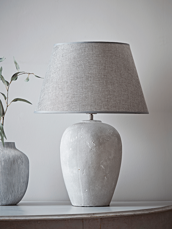 Stone Effect Antique Grey Table Lamp