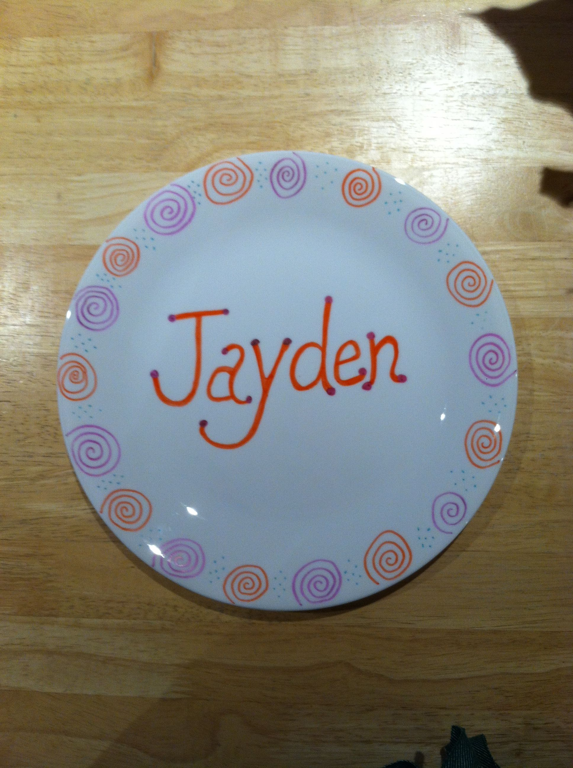 Personalized dinner plates for kids Sharpie marker Bake at 350 for 30 minutes. & Personalized dinner plates for kids Sharpie marker Bake at 350 for ...