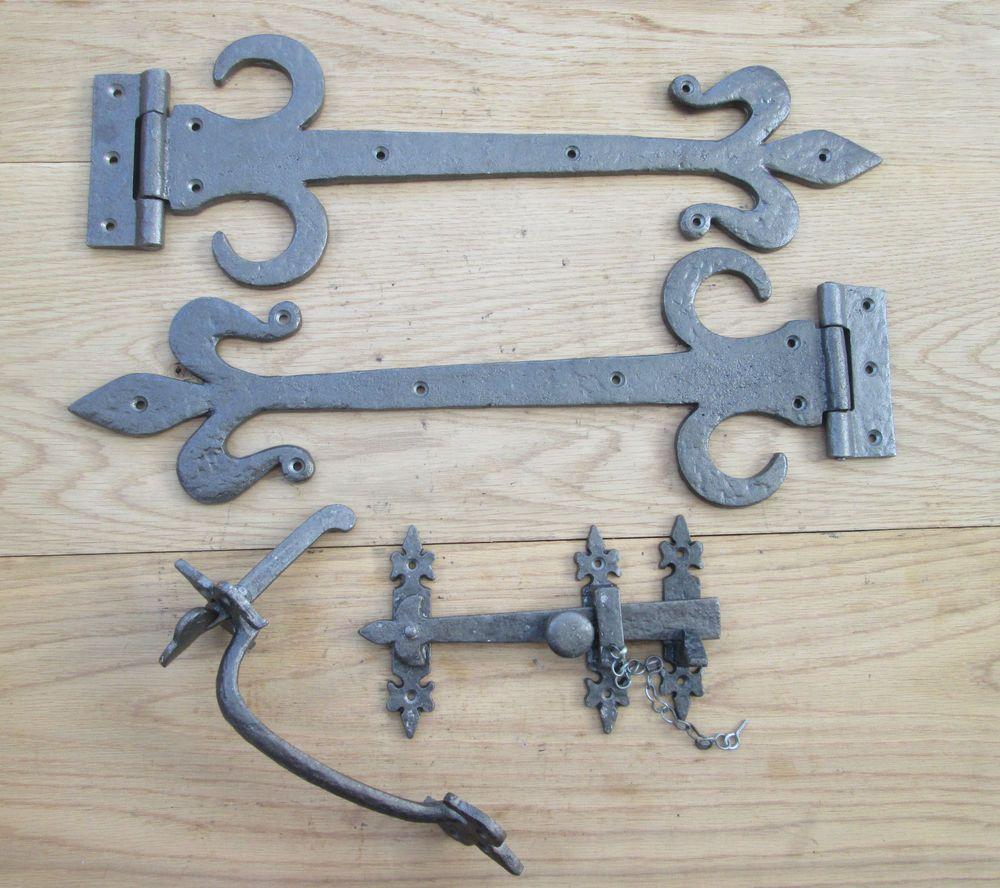wrought cast iron suffolk cottage latch + fleur de lys door gate tee