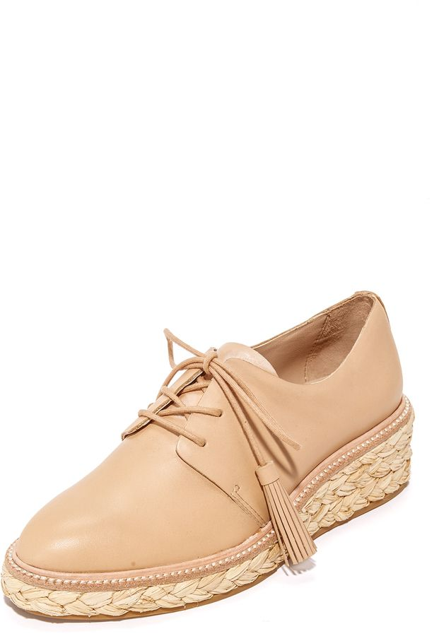 db30ec39c A braided raffia platform adds natural appeal to these glossy leather Loeffler  Randall oxfords. Tassels trim the slim lace-up closure. Rubber sole.