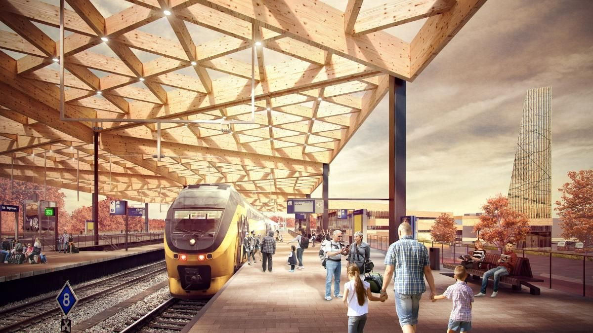 Ede Wageningen Train Station In Netherlands Gets A Wooden Roof Arquitetura Em Madeira