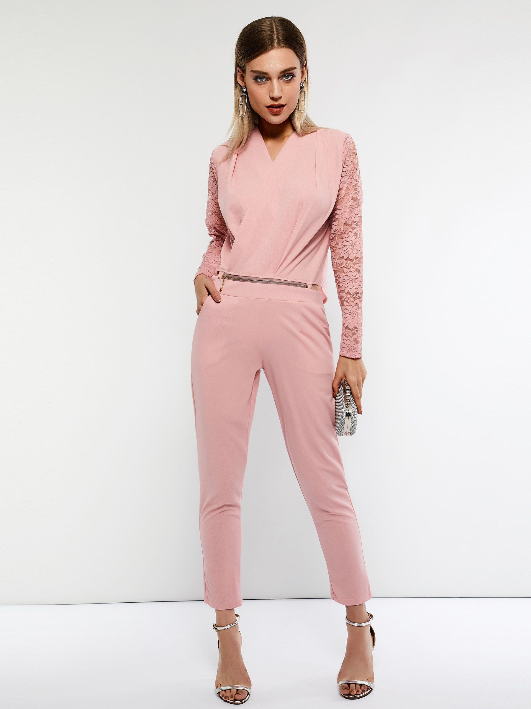 10a2fe9f95d Plain Lace Long Sleeve Full Length Women s Jumpsuit
