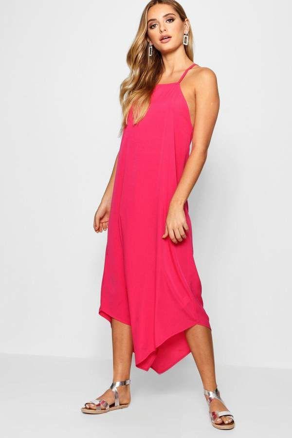 boohoo Hannah Dip Hem Cami Maxi Dress - Watermelon color ...