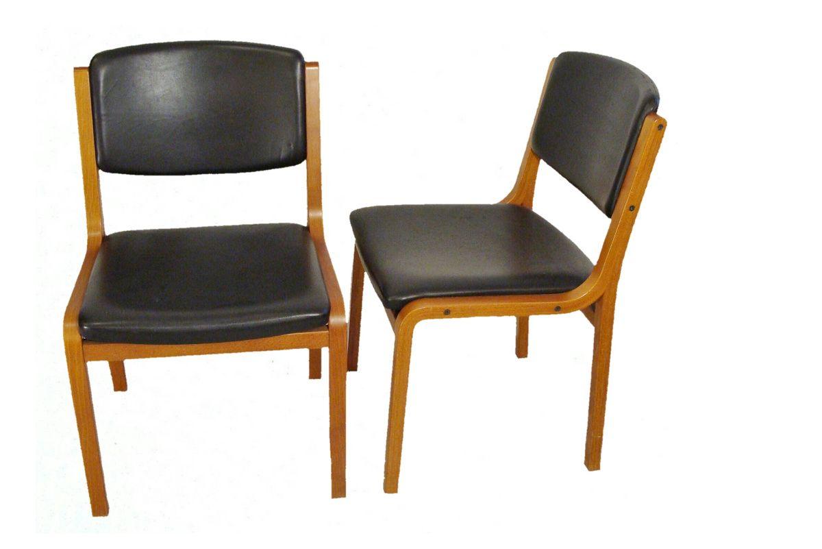 Paire De Chaises 1950 1960 Cuir Chaise Bois Chaise Vintage