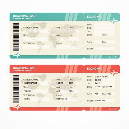 Vector Illustration Airplane Tickets Travel Concept Isolated On White Enjoy Your Holiday Ticket Vorlage Flugzeug Ticket Powerpoint Prasentation