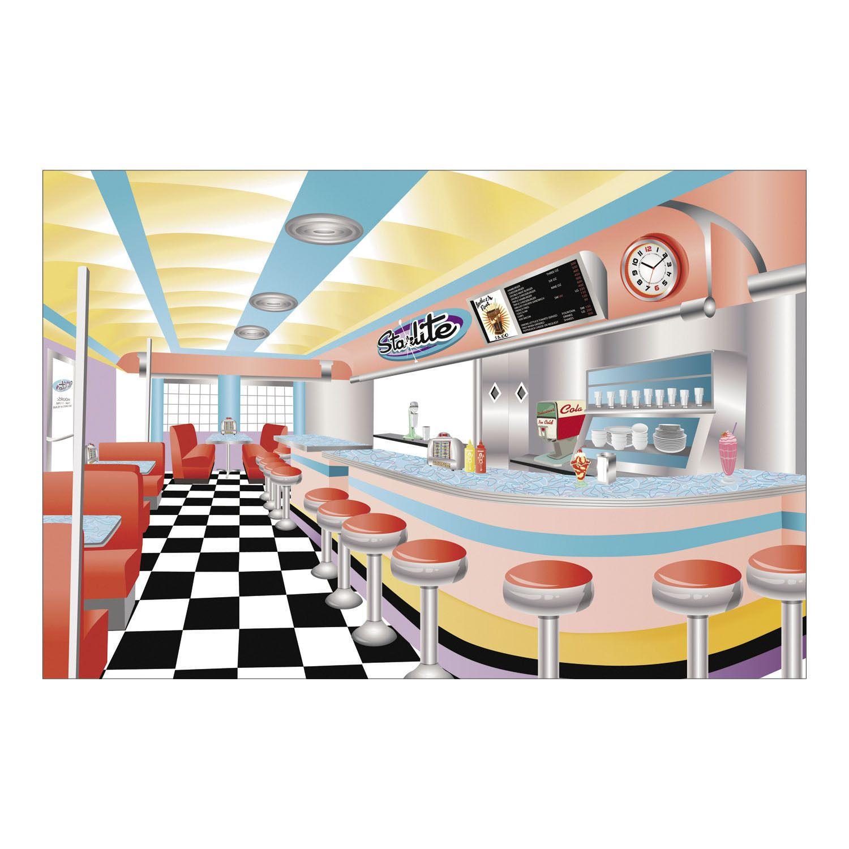 9ft x 6ft 50s Sock Hop Grease Photo Prop Mural Starlite Drive In ...